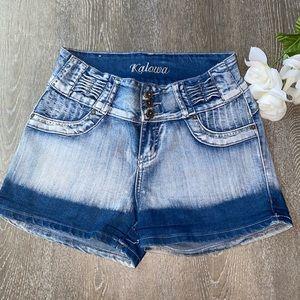 Kalowa High Rise Light Wash Blue Shorts (13)Junior